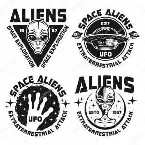 Attack UFO Vector: Stock Illustration Ufo And Aliens Vector Emblems