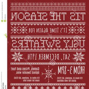Stock Ilration Ugly Christmas Sweater Party Invitation Template Knitted Design Effect Image