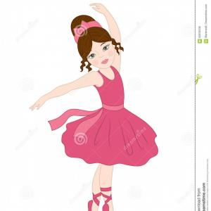 Vector Clip Art Of Ballet Shoes: Stock Illustration Vector Ballerina Dancing Ballerina Clipart Beautiful Pink Dress Dancer Brunette Girl Illustration Image
