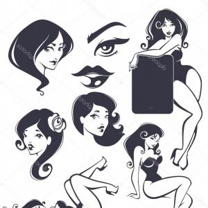 Pin Up Girls Vector Stock: Tattoo Pin Up Girl Vector