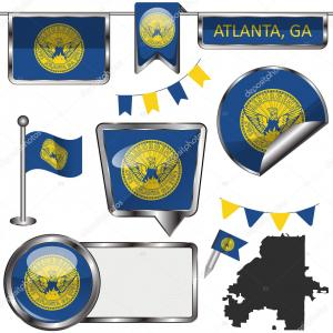 Vector Atlanta GA: Stock Illustration Vector Glossy Icons Flag Atlanta