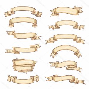 Heraldic Vector Ribbons: Stock Illustration Vector Icons Old Paper Roll