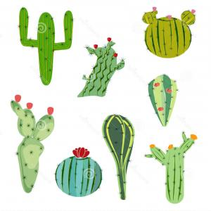 Cactus And Flower Vector: Cacti Succulents Flowers Green Plants Landscape