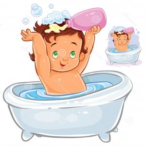 Bathtub Palace Vector: Stock Illustration Vector Illustration Small Child Sitting Bathroom Pouring Shampoo His Head Clip Art Print Template Design Image