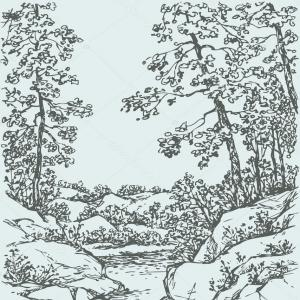 Rocky Mountain Line Art Vector: Stock Illustration Vector Landscape Trees On Rocky