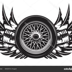 Tire With Wings Vector: Stock Illustration Vector Monochrome Pattern Wheel Wings