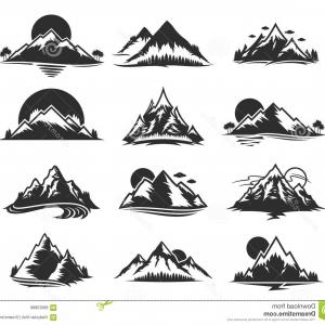 White Mountain Silhouette Vector Free: Stock Illustration Vector Mountains Icons Isolated White Tourism Hiking Camping Travel Tourism Organizations Image