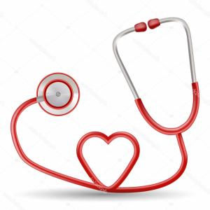 Heart Stethoscope With EKG Lines Vector: Stethoscope Ekg Heart Beating Diagram