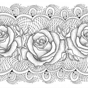 Seamless Flower Lace Vectors: Stock Illustration Vector Seamless Pattern Dotted Rose Flowers Decorative Lace Black White Background Elegance Floral Image