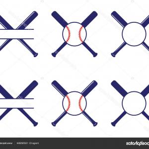 Vector Baseball Cross: Baseball Bat Cross Line Icon On