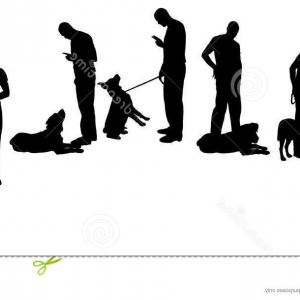 Vector Silhouette Dog Walk: Stock Illustration Vector Silhouette Man Dog Walk Image