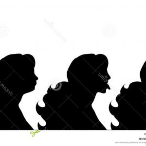 Soldier Woman Profile Vector: Stock Illustration Vector Silhouette Profile Woman White Background Image