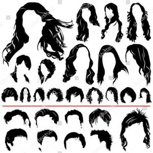 Vector Mullet Hair Men: Mens Hairstyles And Hirecut With Beard Mustache Vector