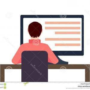 Vector Man Working In Cabin: Stock Illustration Vector Workplace Concept Flat Illustration Man Working Desktop Computer Isoleted White Image