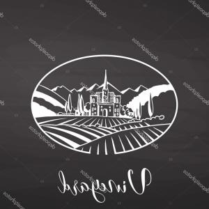 Vineyard Logo Vector: Agriculture Landscape With Vineyard Logo Illustration In Flat Style Design Gm