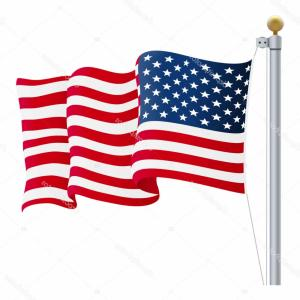 American Flag On Pole Vector: Stock Illustration Waving United States Of America