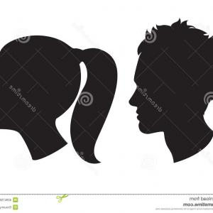 Male Silhouette Vector Art: Stock Illustration Woman Man Head Silhouette Vector Illustration Icons Image