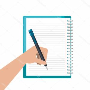 Notepad Writing Hand Vector: Photostock Vector Hand Holding And Writing On Notepad Notebook And Pen In Hands Of Businessman Organizer Or Layout Of