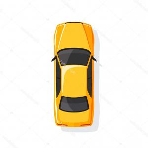 Camaro Vector Drawings: Stock Illustration Yellow Cartoon Car Top View