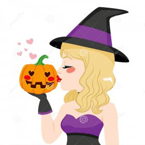 Vector Cute Witch Blonde: Stock Image Happy Halloween Background Sexual Blonde Witc Witch Vector Image