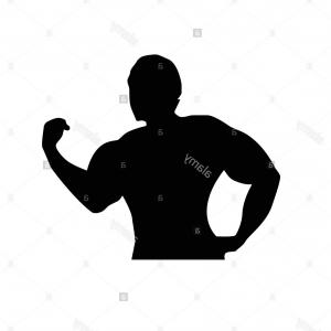Strong Man Vector: Stock Image Strong Man With Big Muscles With Arm On Waist Silhouette Design Isolated