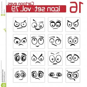 Mad- Eye Outline Vector: Stock Image Vector Black Cartoon Eyes Set Image