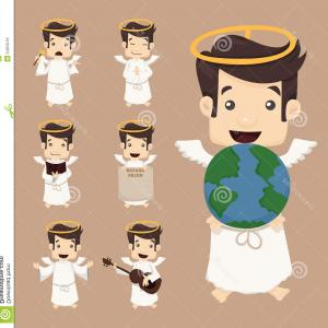 Navy Wings Vector Format: Stock Images Set Angel Characters Poses Eps Vector Format Image