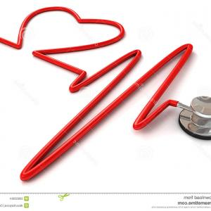 Heart Stethoscope With EKG Lines Vector: Photostethoscope And The Heart And Ecg Background