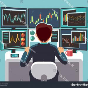 Desktop LCD Screen Vector Art: Stock Market Trader Looking Multiple Computer