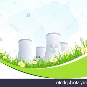 Vector Power Plant Utility: Stock Photo Abstract Background With Nuclear Power Plant And Grass