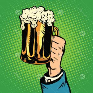Drinking Beer Vector Profile: Stock Photo Beer Mug Hand Pop Art Retro Vector Toast Holiday Vacation Drinks Pub Image