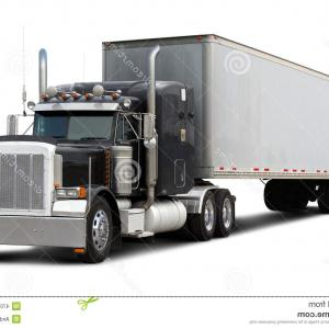 Peterbilt Flatbed Vector Art: Stock Photo Black Truck Peterbilt Isolated White Background Image