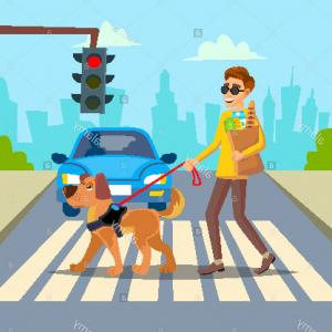 Vector Young Person: Stock Photo Blind Man Vector Young Person With Pet Dog Helping Companion Disability