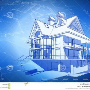 Residential Blueprints Vector: Architecture Model House On Top Of Blueprints Gm