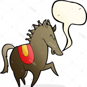 Prancing Horse Vector: Stock Photo Cartoon Prancing Horse With Speech Bubble