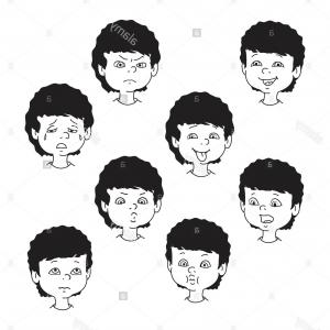 Childern Black And White Vector: Stock Photo Child Face Emotion Gestures Black And White Vector Illustration Set