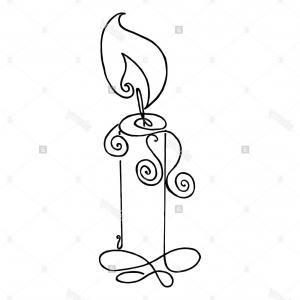 Candle Vector Black: Stock Photo Coloring Book With A Picture Of A Burning Candle Flame Vector Illustration