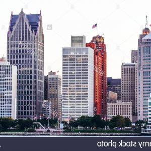 Vector Building Detroit: Detroit Famous City Scape Vector