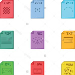 File Extension Vector Art: Set File Types Icons In Flat Style Gm