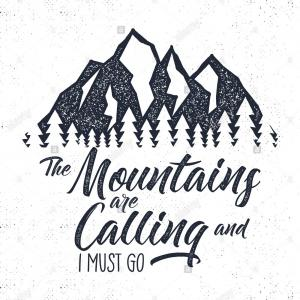 Moutains And Trees Vector: Stock Photo Hand Drawn Mountain Advventure Label Mountain Calling Illustration