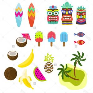 Tropical Tiki Vector: Stock Photo Hawaii Tropic Colorful Clipart Vector Tiki Mask Ice Cream Palms Surf