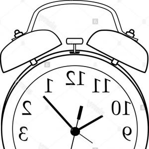 Time Clock Vector: Stock Photo Illustration Of Isolated Black And White Cartoon Alarm Clock Vector
