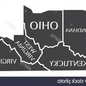 Virginia Vector: Stock Photo Indiana Kentucky West Virginia Virginia Ohio Map Labelled Black Illustration