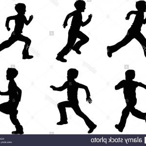 Person Running Silhouette Vector: Stock Photo Kid Running Silhouettes Vector