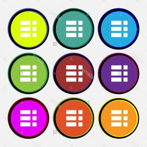 Multi Arrow Vector Clip Art: Stock Photo List Menu App Icon Sign Nine Multi Colored Round Buttons Vector