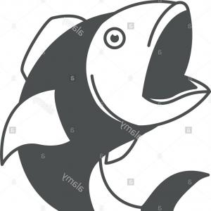 Walleye Vector: Stock Photo Monochrome Silhouette Of Open Mouth Fish