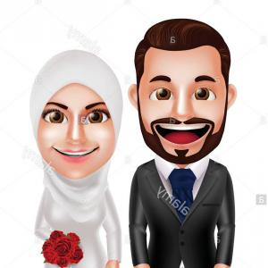 Vector Muslim Wedding: Stock Photo Muslim Couple Vector Characters As Bride And Groom Wearing Hijab And