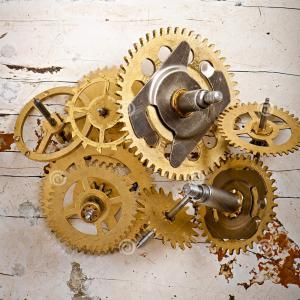 Vector Mechanical Clock Wheels: Photostock Vector Vector Illustration Of A Metallic Mechanical Watch And Clock Component