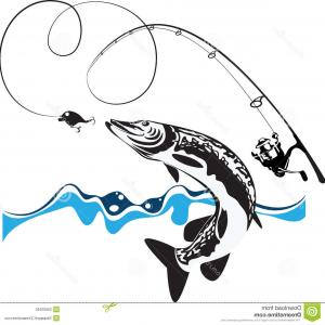 Rod And Reel Vectors: Photostock Vector Monochrome Contour Of Fishing Rod With Nylon Reel In Movement Vector Illustration