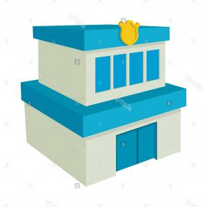 Vector Police Department: Photostock Vector Vector Police Station With Car Isolated Objects